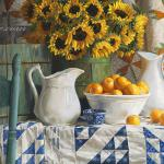 CALICO WITH SUNFLOWERS 24x40  oil on linen panel, Available at Astoria Fine Art